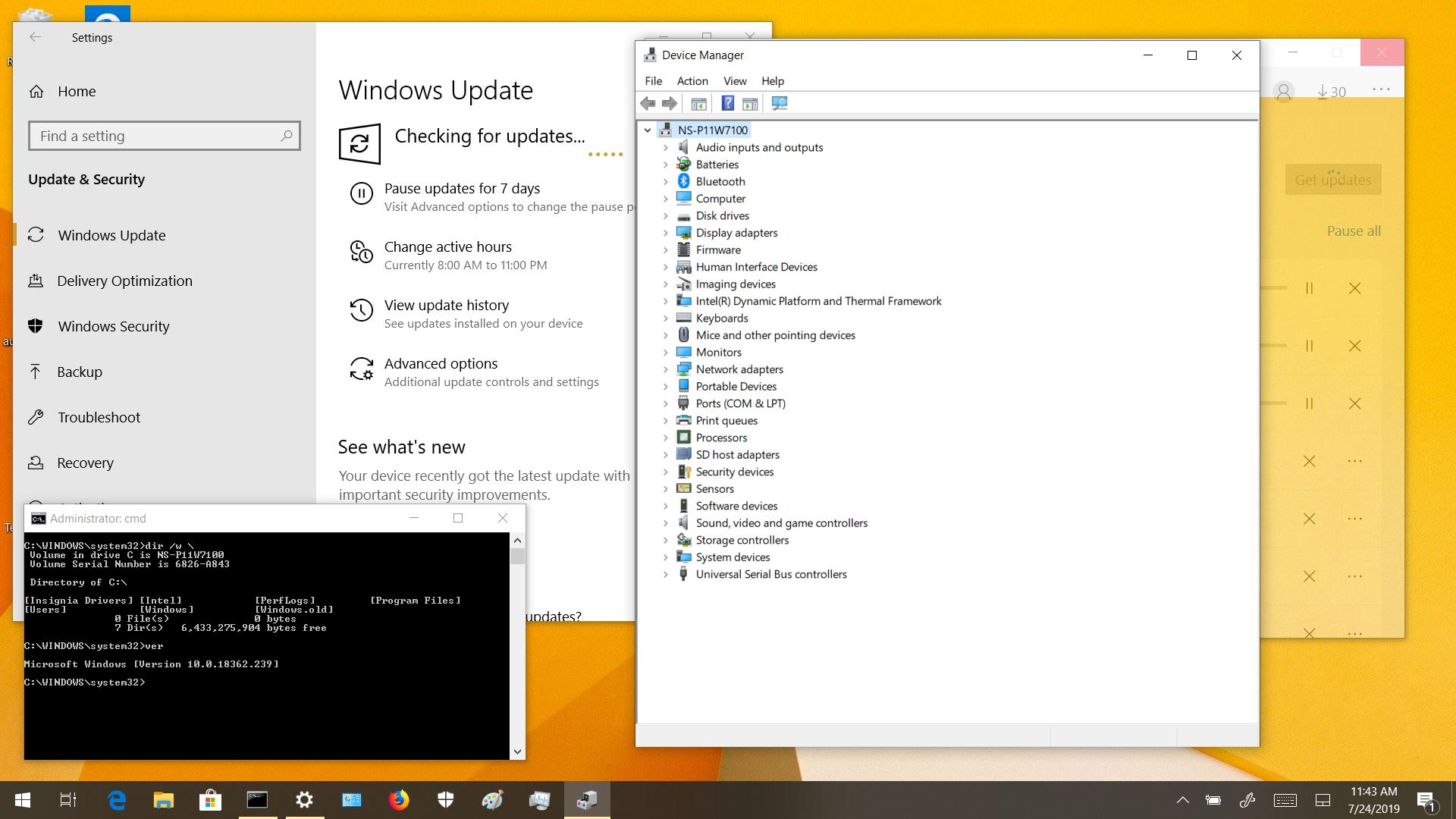 Screenshot after Windows 10 1903 32-bit feature update